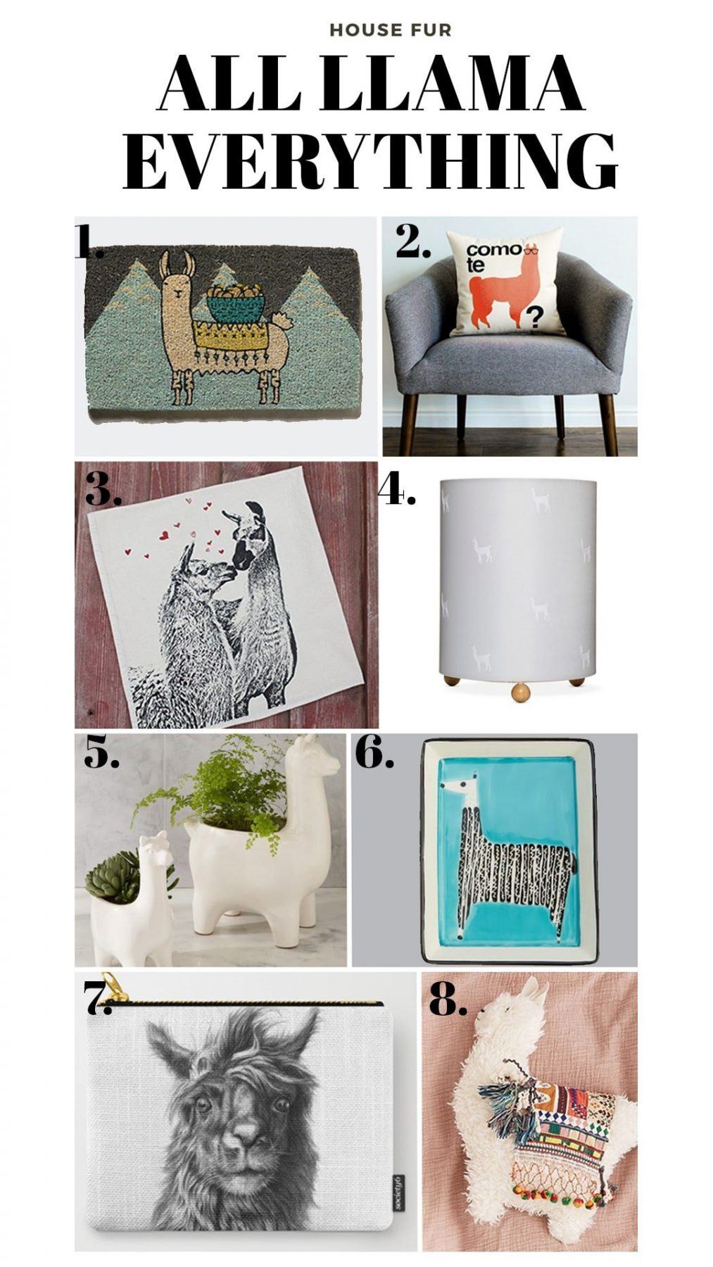llama decorations and home goods