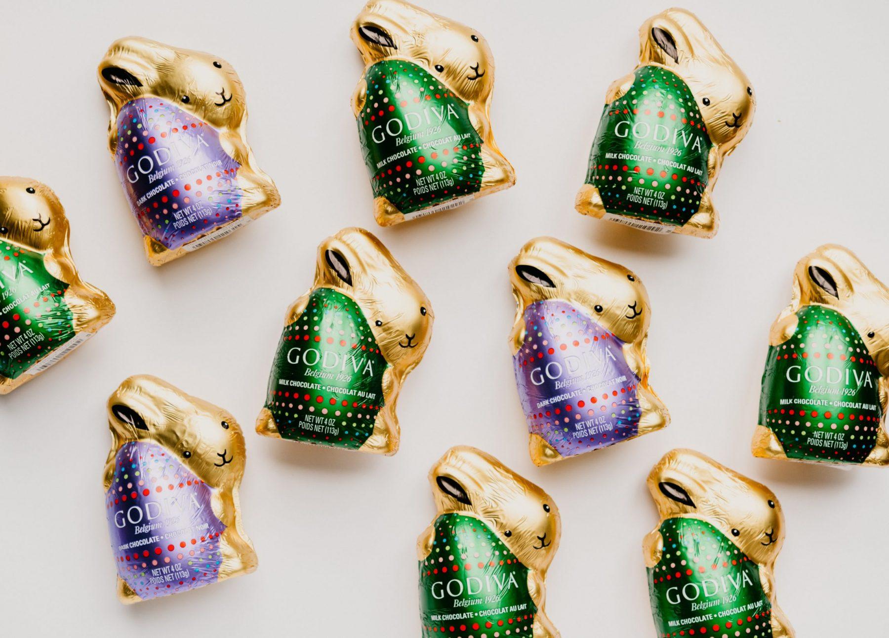 Godiva chocolate bunnies for gourmet easter basket