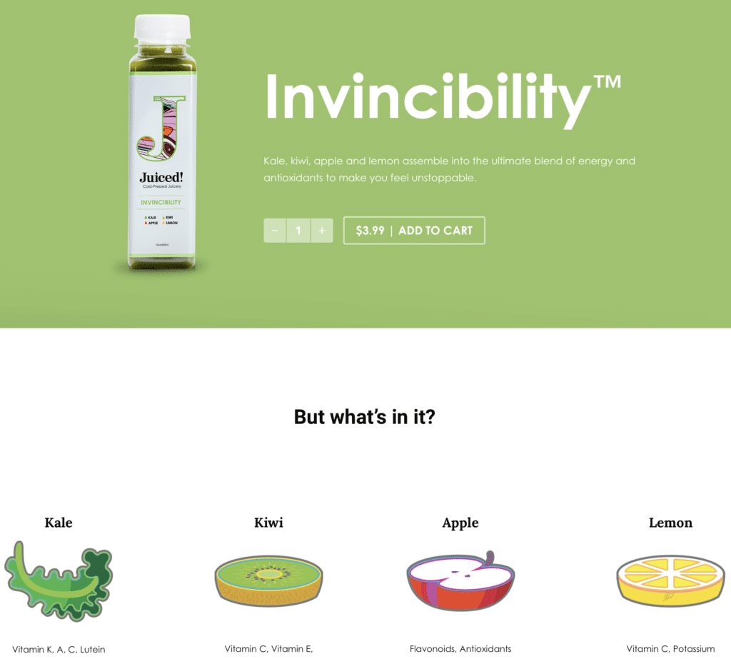 Kale, kiwi, apple and lemon assemble into the ultimate blend of energy and antioxidants to make you feel unstoppable.