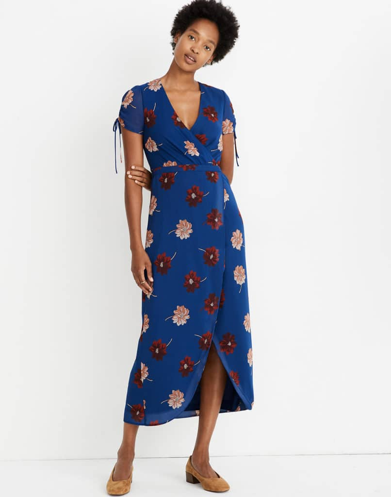 Georgette Cinched-Sleeve Maxi Dress