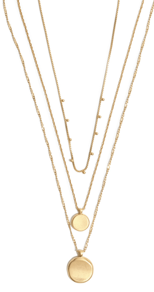 coined layer necklace gold