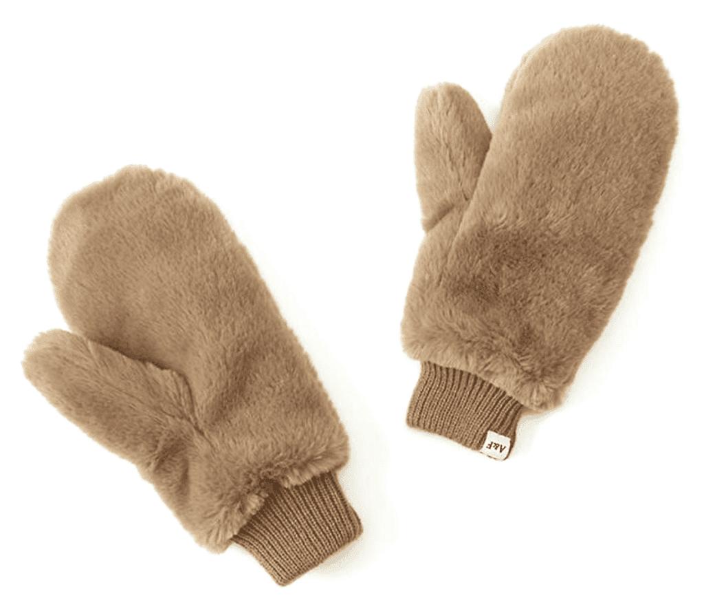 Abercrombie faux fur mittens