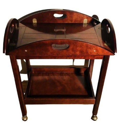 wooden 1980s tea bar cart