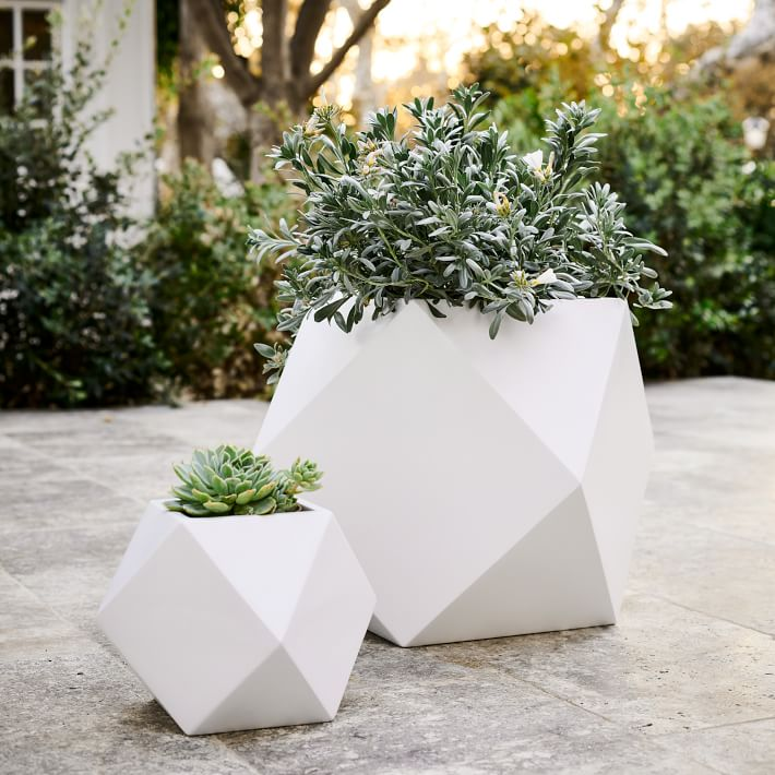 Faceted Modern Fiberstone Planters