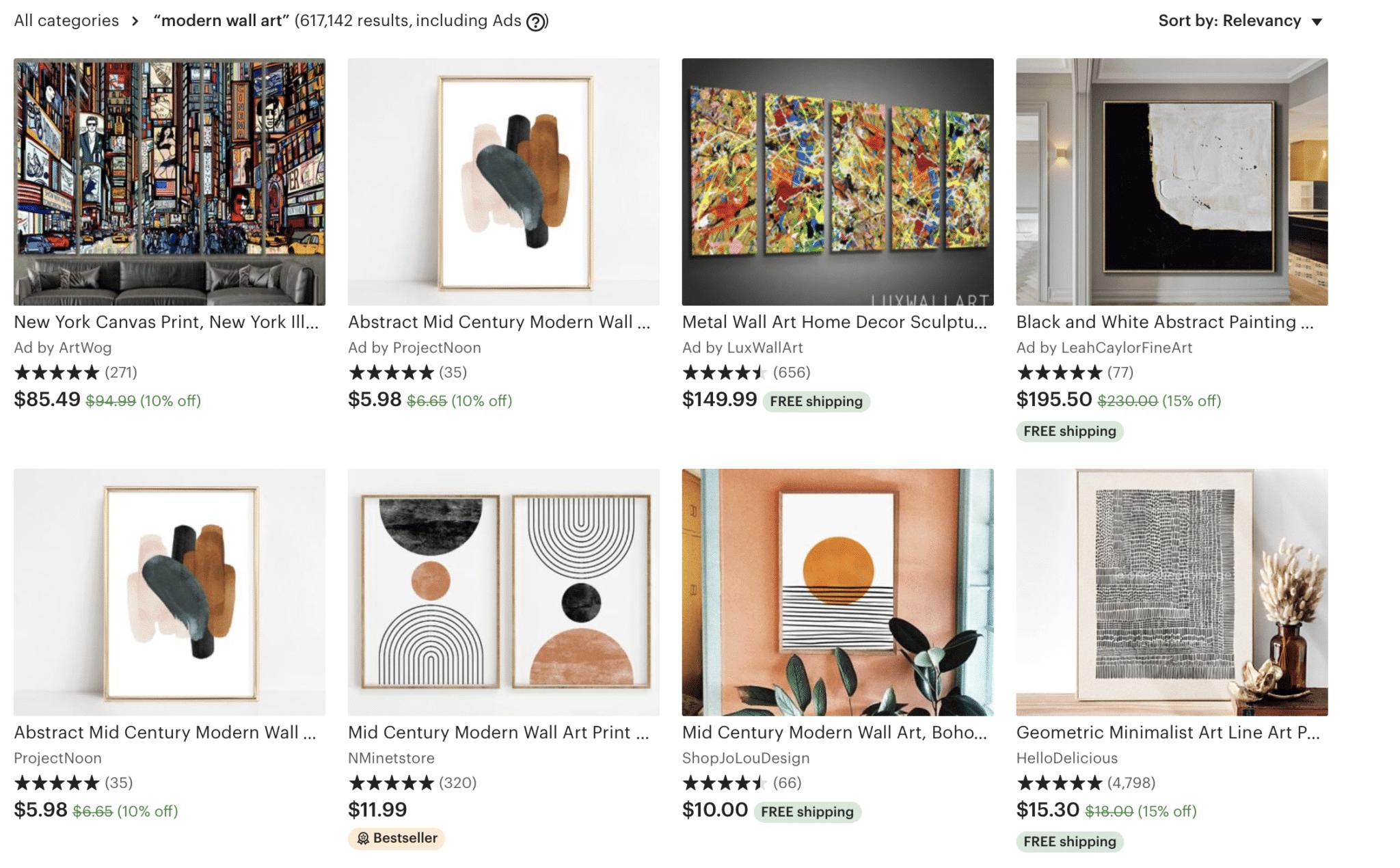 etsy modern wall art