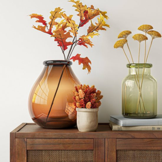 fall orange decor vases