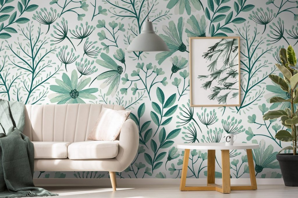 mint green floral wallpaper
