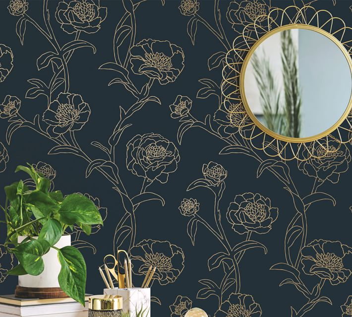 Peonies Pottery Barn Wallpaper