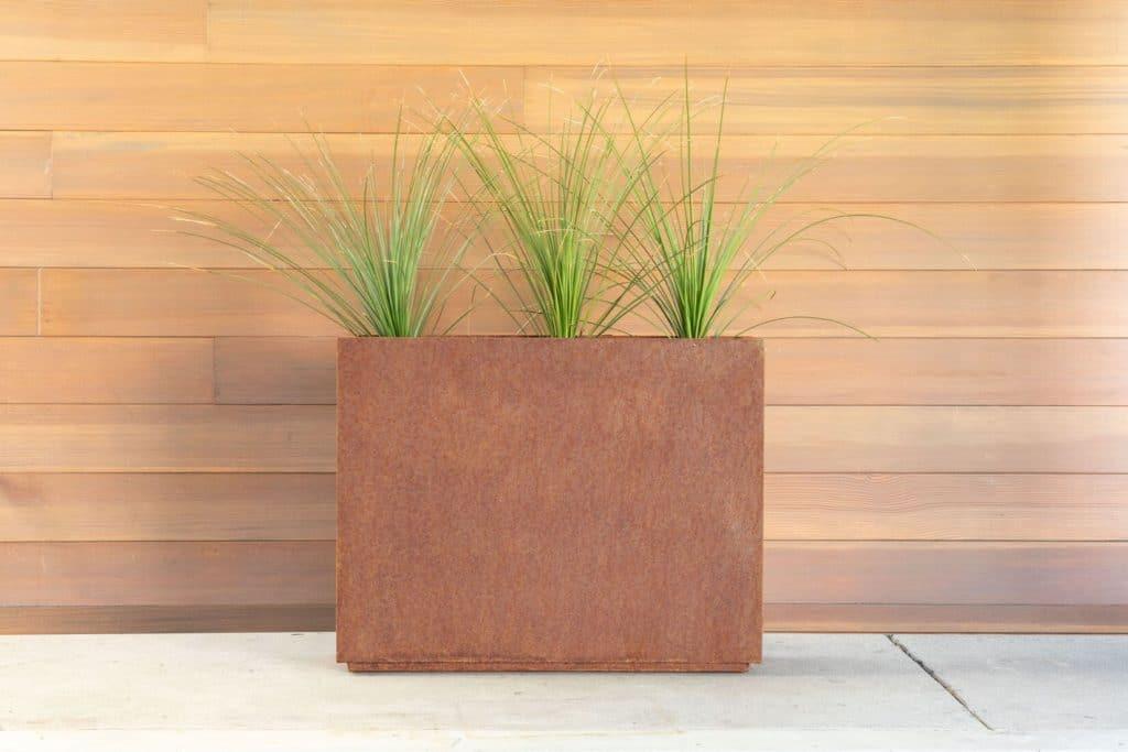 metallic planter weathered