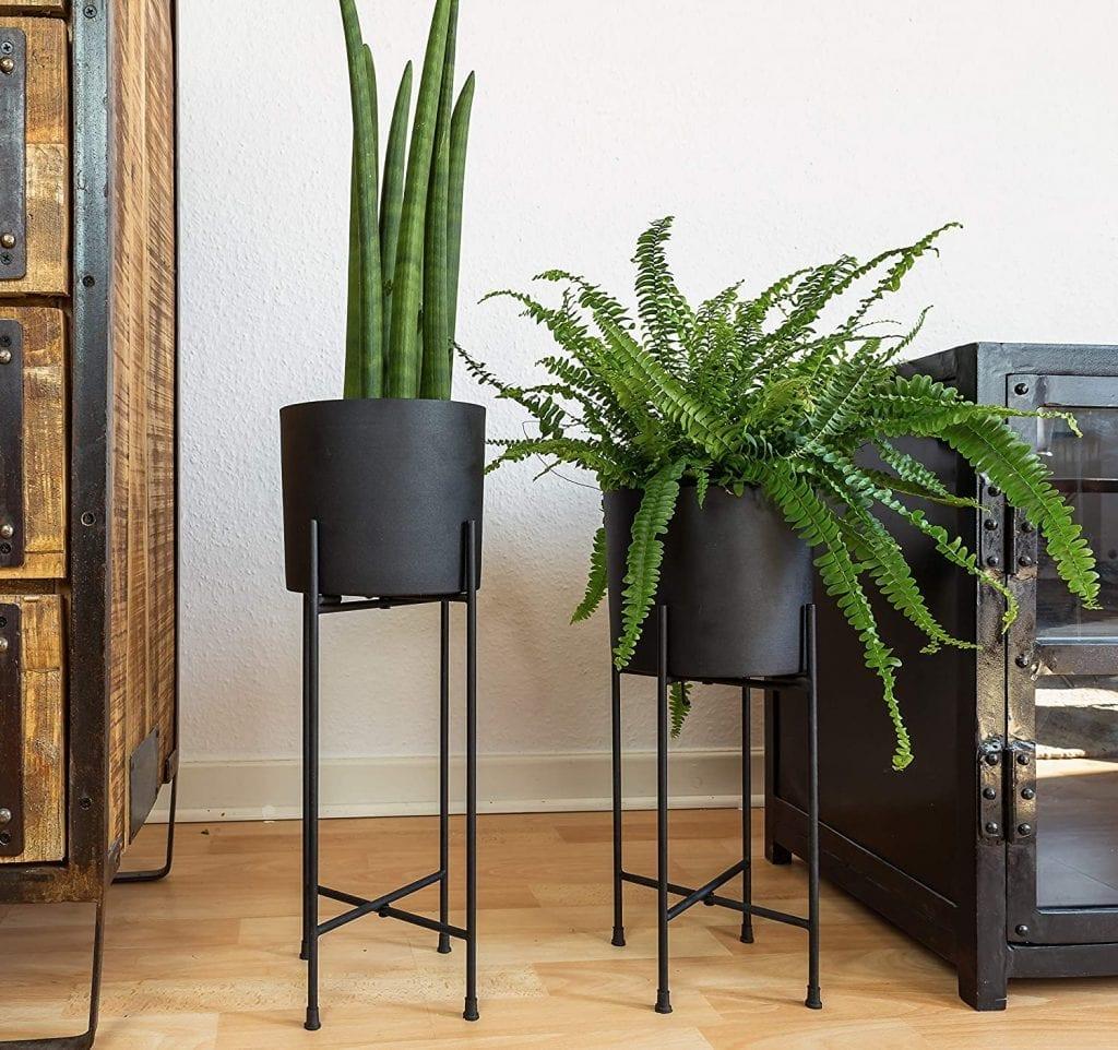 modern black planter