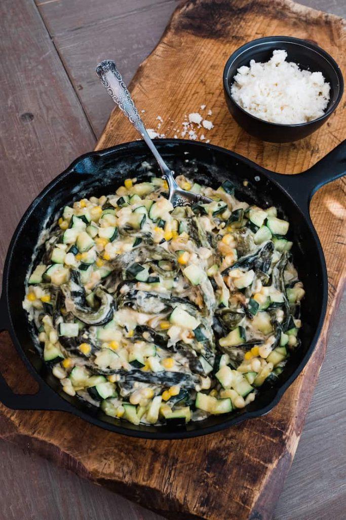 creamy zucchini corn poblanos