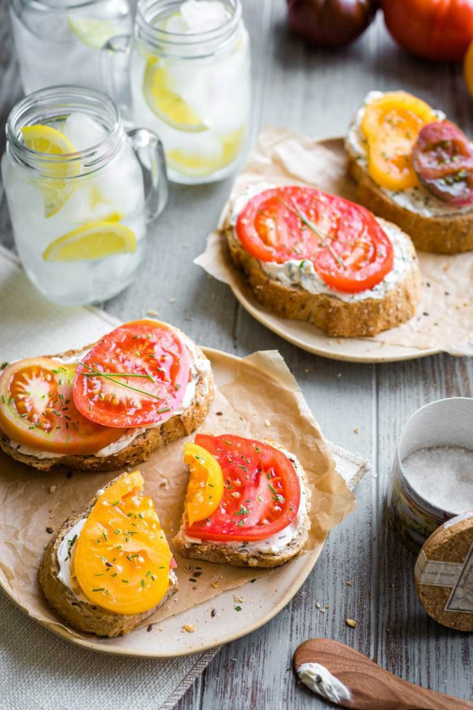 open faced tomato sandwich