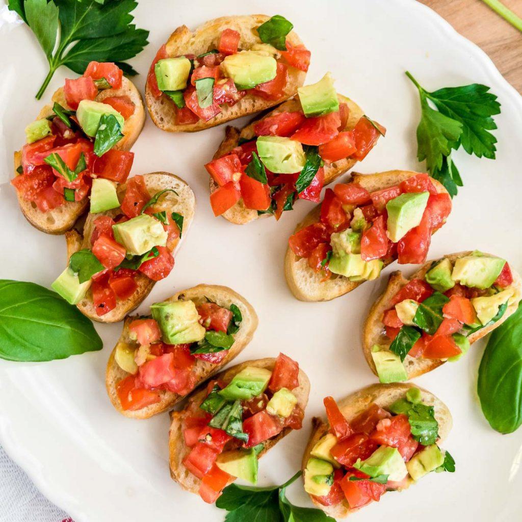 tomato avocado bruschetta