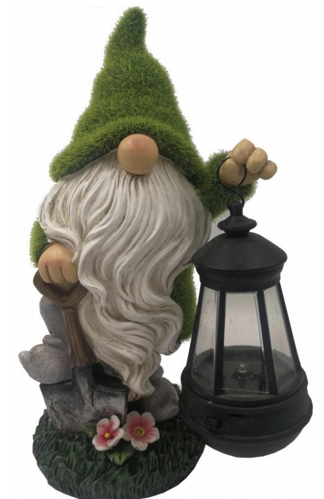 Bearded Grassy Shoveling Gnome in Green and White