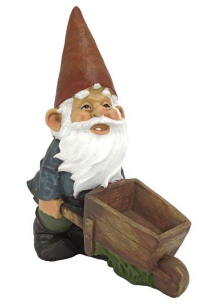 Wheelbarrow Willie Garden Gnome Statue-